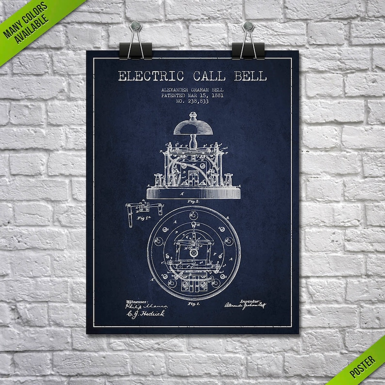 1881 Alexander Bell Electric Call Bell Patent Poster Patent image 0
