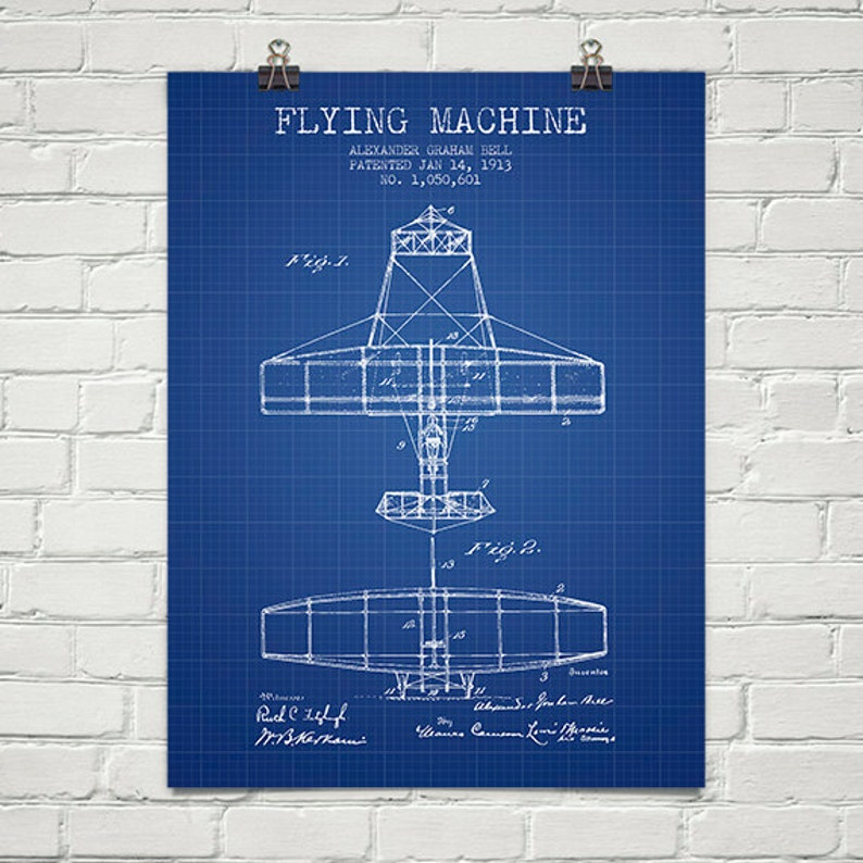 1913 Alexander Bell Flying Machine Patent Wall Art Poster image 0
