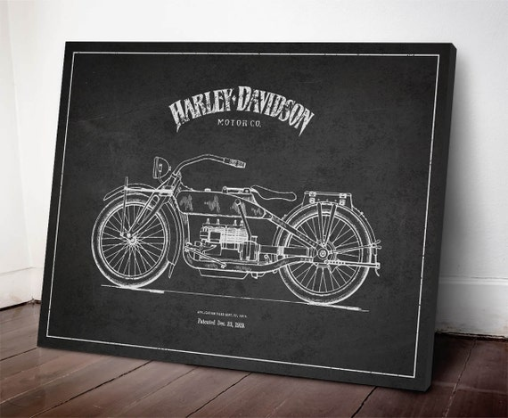 1919 Harley Davidson Patent Harley Davidson Canvas Print   Etsy