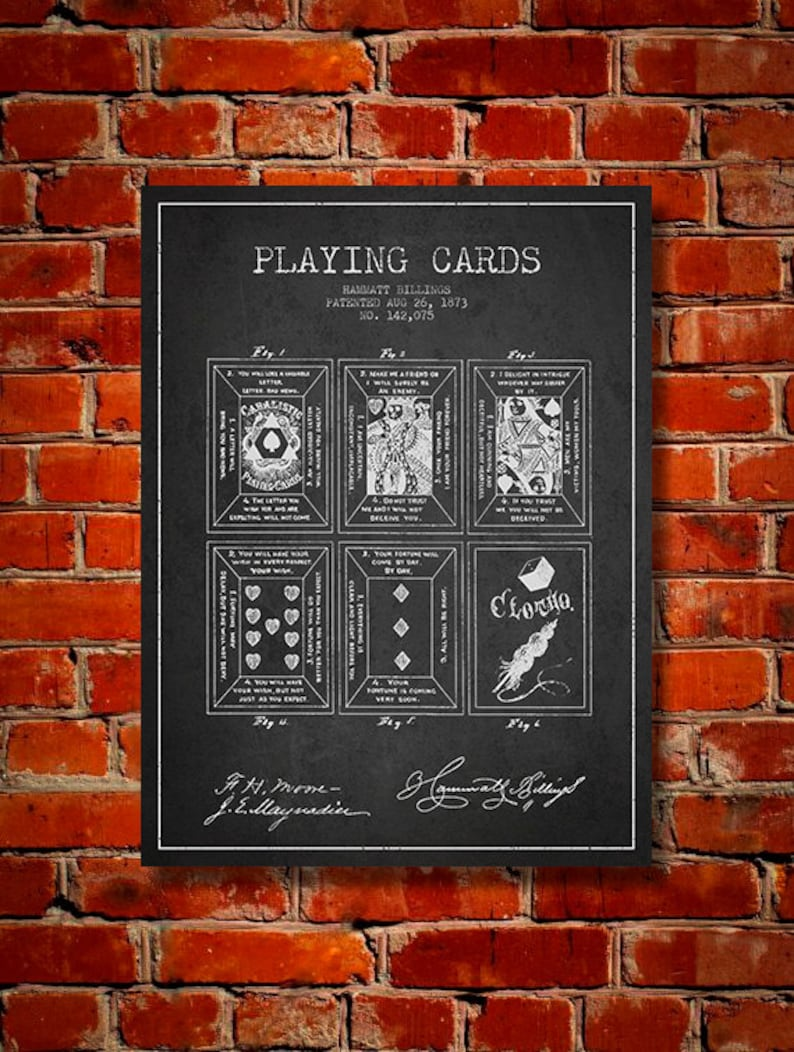 1873 Playing Cards Patent Canvas Print Wall Art Home Decor image 0