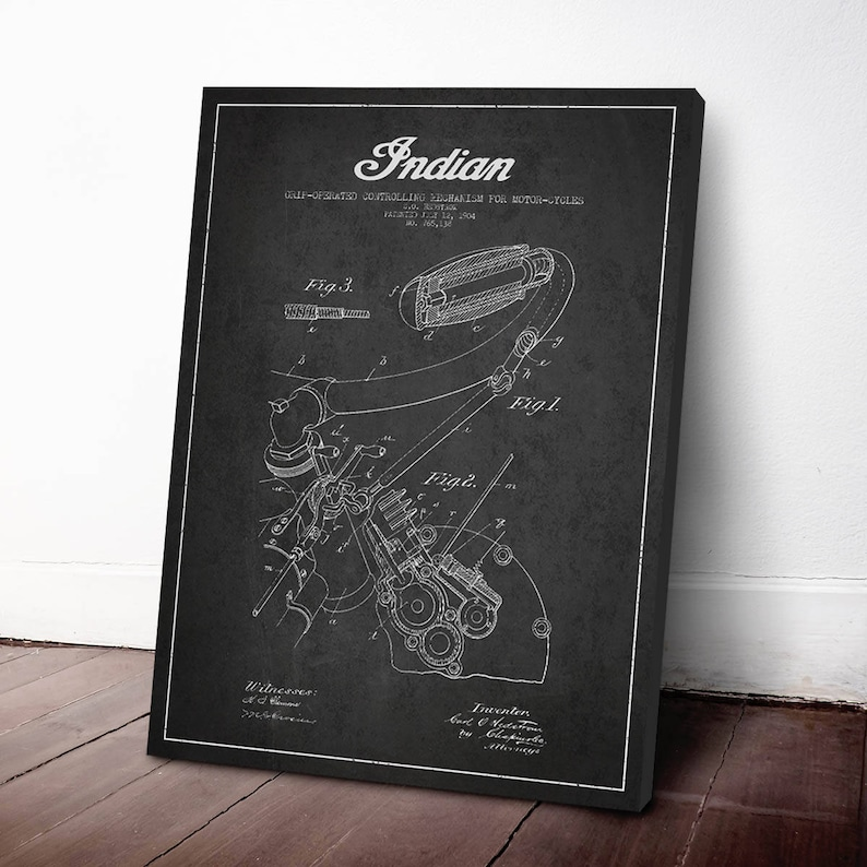 1904 Indian Motorcycle Patent Print Canvas Print Patent Art image 0