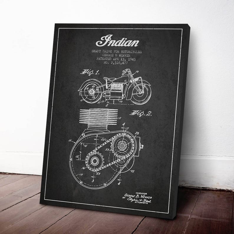 1943 Indian Motorcycle Patent Print Canvas Print Patent Art image 0
