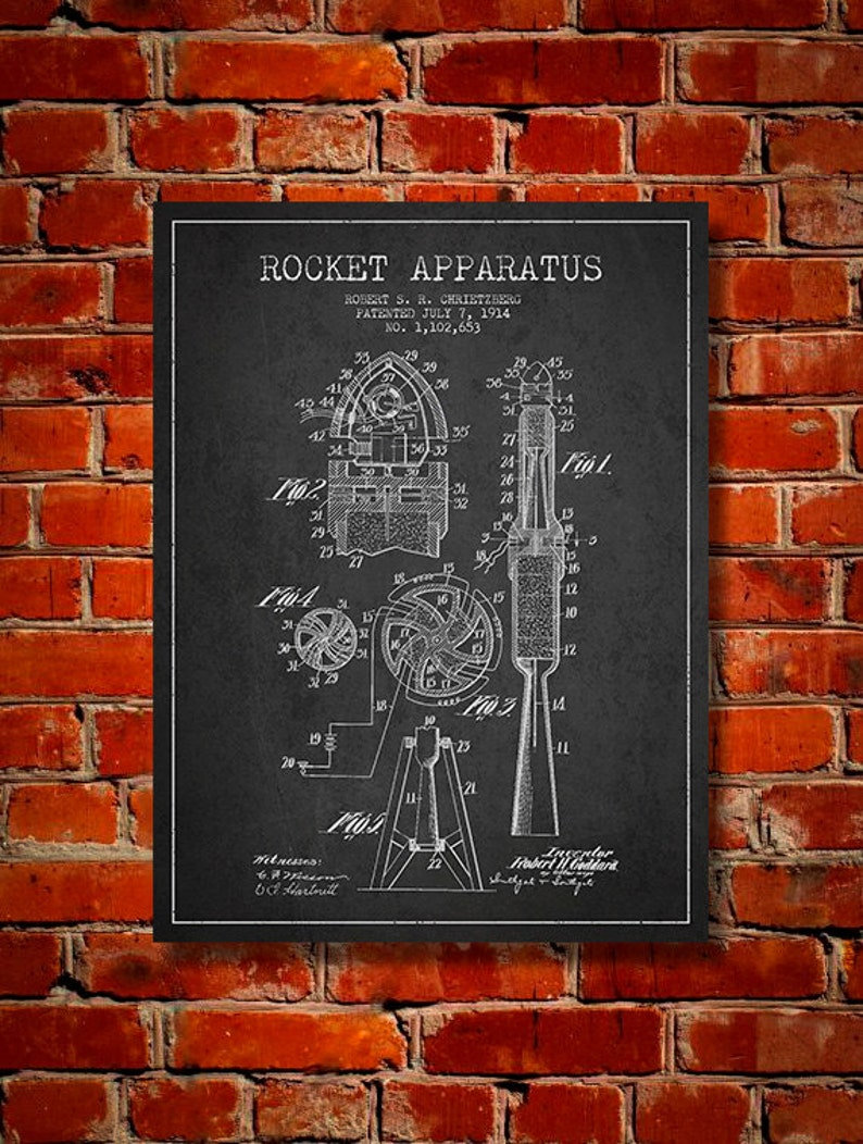 1914 Rocket Apparatus Patent Canvas Print Wall Art Home image 0