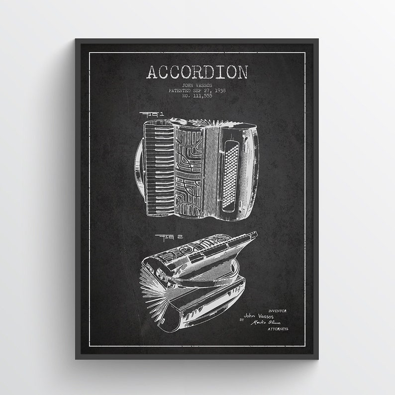 1938 Accordion Patent Wall Art Poster Accordion Print Music image 0