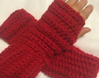 Fingerless Handmade Gloves Red, Crochet Red Fingerless Hand Warmers, Ladies Fingerless Red Gloves, Women Crochet Fingerless Custom Gloves