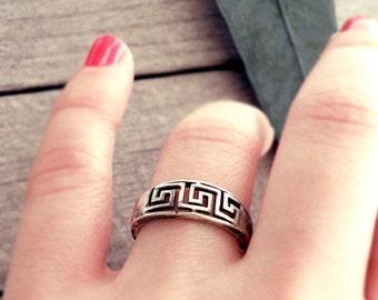 Greek key ring, Greek ring, silver ring, meander band, meander ring, greek key band, Grecian jewelry, Greek jewelry, grecian ring