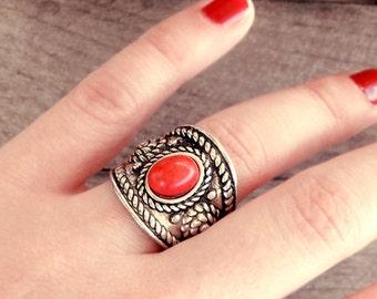 Tibetan ring, Ethnic ring, tribal ring, Nepalese ring, Boho ring, Bohemian ring, bohemian jewelry, ethnic jewelry, tribal jewelry, oxidized