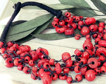 collier ethnique, red necklace, Nepalese necklace, multi strand necklace, Tribal necklace, Ethnic necklace, Indian jewelry, Bedouin jewelry