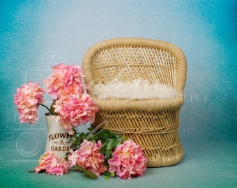 One of a kind prop! Sitter Digital Backdrop Wooden Floral Swing Hanging One Year Boho Farmhouse Spring Summer Baby Girl Background