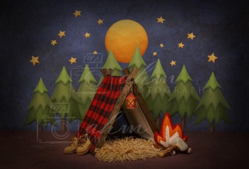 1770ec3184b Newborn Digital Backdrop Camping Lumberjack Boy Tent Night time Hiking  Forest Moon Baby Background