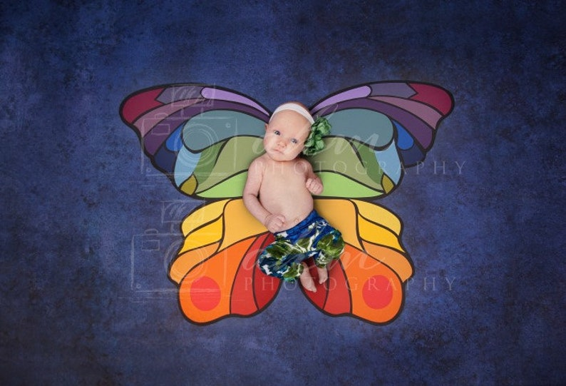 1f9976a75cb54 Newborn Digital Backdrop Rainbow Butterfly Rainbow Baby Wings Fairy  Colorful Bright Summer Navy Baby Girl Boy Background