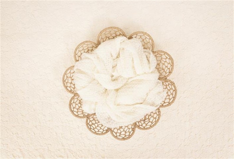 One of a kind prop! Digital Newborn Backdrop Cream Lace BowlBasket