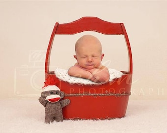 Digital Newborn Backdrop Sock Monkey and Red Bucket. One of a kind prop!