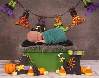 DIGITAL Newborn Backdrop Fun Halloween Box. One of a kind prop!