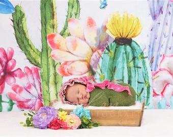 DIGITAL Newborn Backdrop Cactus Floral Box. One of a kind prop!