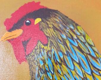 Pauleen. Chicken Art. Original Painting.
