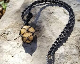 Mookaite Jasper Hemp Macrame Necklace