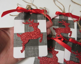 6 black and white buffalo plaid and red glitter deer christmas tags rustic christmas tags christmas decor christmas tags buffalo plaid decor - Red And Black Plaid Christmas Decor