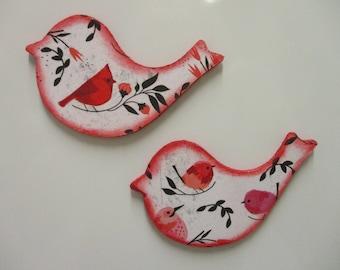 Set Of 2 Wooden Bird Magnets Cardinal Magnets Kitchen Decor