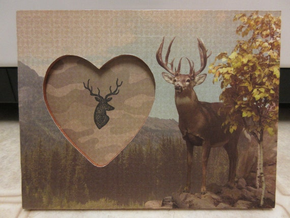 Picture Frames-Deer Wooden Heart Picture Frame-Cabin Decor-Lodge ...
