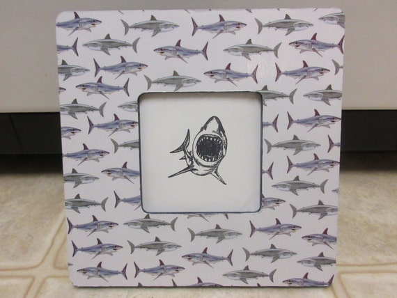 Wood Picture Frame-Shark Picture Frame-Beach Decor-Shark