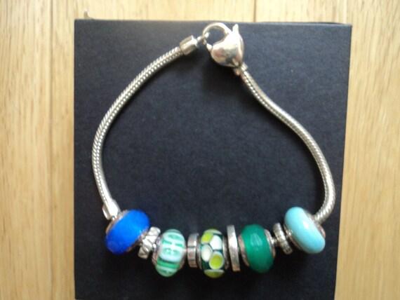 bracelet argent verre murano