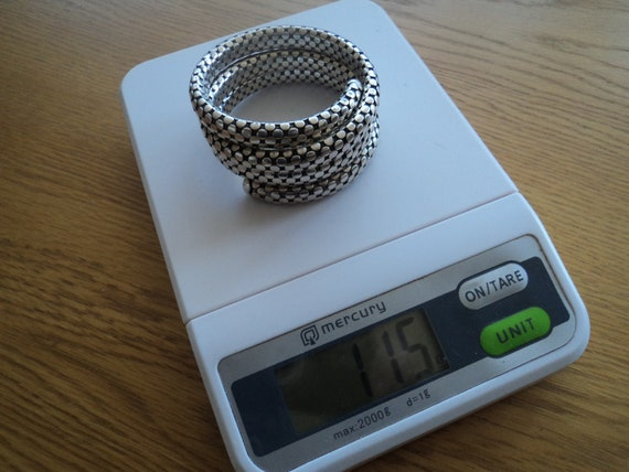 Silver 925 Snake Dragon scales colied spiral upper