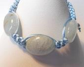 Aquamarine Macrame Bracelet, friendship bracelet, march birthday, mothers day gift, wedding day, march birthstone, gemstone jewellery, boxed