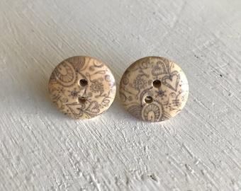 Grey paisley pattern wood button stud earrings