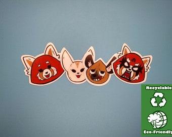 AGGRETSUKO STICKER PACK/eco friendly stickers/Die cut stickers/4pc Sticker Set