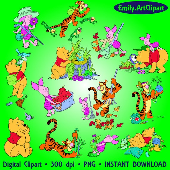 winnie the pooh clipart 28 png tigger piglet winnie clipart etsy rh etsy com Tigger Clip Art Black and White Tiger Clip Art