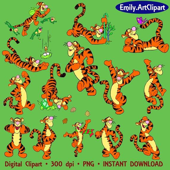 Tigger Clipart Disney Cartoon Character 14 PNG Digital ...