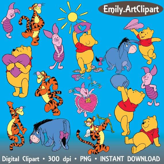 winnie the pooh tigger eeyore piglet burro bear clipart disney etsy rh etsy com Eeyore Clip Art Pooh Clip Art