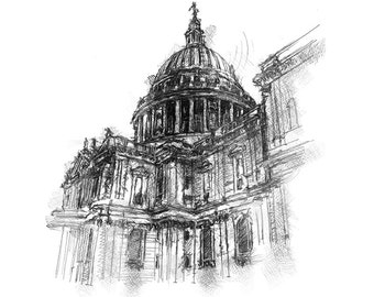 St. Paul's London | Limited edition fine art print from original drawing. Free shipping.