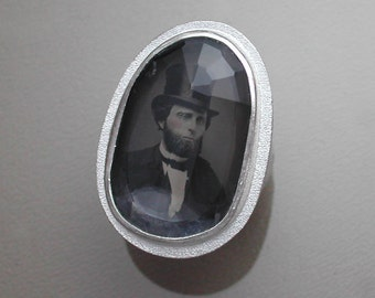 Sterling Silver Ring with Antique Tintype of Man - Abraham Lincoln Look Alike - Under Rock Crystal Quartz