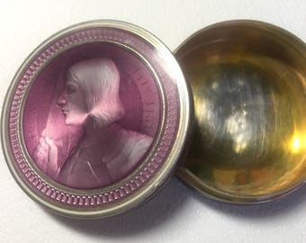 Antique French Gilt Silver Violet Guilloche Enamel Round Box with Joan of Arc circa 1920