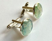 Nephrite Jade green cufflinks made of real plant, cuff links accessory men gift idea for dad, grandpa, brother, father, groom, best man