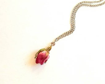 Small purple rose bud charm dangle pendant, real tea rose in resin garden gift jewelry for mother, Christmas or Anniversary