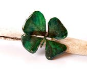Real Clover Brooch, Green...