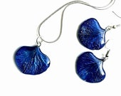 Sapphire Real flower petals jewelry set of 3  Cobalt navy blue nature earring Sterling Silver 295 Resin organic pendant September birthstone
