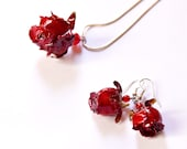 Real rose red jewelry, drop earring, dangle red earring, rose wedding gift bride jewelry sets, bridal jewelry set, rose gift