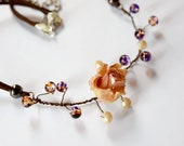 Pastel rose jewelry with dried flower covered with resin, Boho rose necklace with Crystals and beads