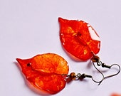 Real leaf earrings, dangl...