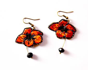 Gift earrings poppy earrings red jewelry, Red poppy dangle earring, Red flower jewelry, Flower wedding gift idea, Red bridal jewelry her