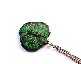 Real plant jewelry, Green gift pendant jewelry, art Nature necklace Lush woodland earthy gift Mother Nature jewelry gift Wife's gift pendant