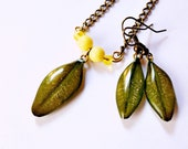Olive green leaves dangle drop jewelry set, real leaves resin earrings with Botanical Rustic leaf necklace
