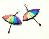 Rainbow Umbrella lesbian earrings, gay pride jewelry gift  for Christmas