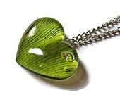 Grass green jewelry Ginko leaf heart necklace Real plant green pendant heart jewelry Green plant jewelry heart gift Nature heart for her
