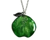 Natural green apple pendant jewellery, real plant layered fruit necklace, gift for vegans, vegetarians and garden lovers