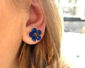 Blue Spring flowers Druzy and faux Enamel pin posts, Small, tiny dainty floral earrings studs jewelry